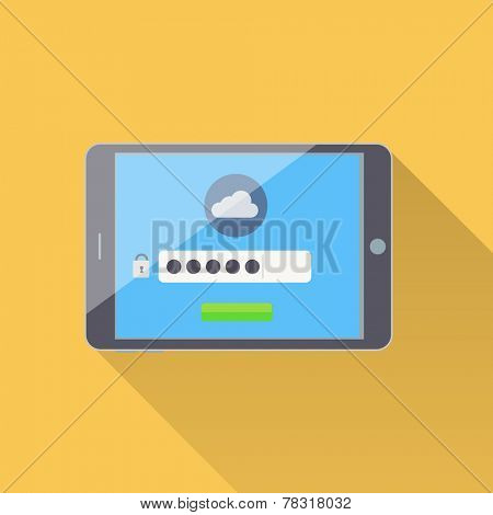 Tablet with password protected cloud storage interface - flat style illustration on data protection