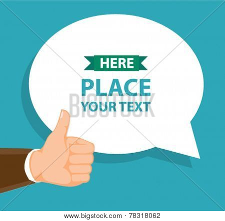 text bubble and thumb-up gesture - flat design vector