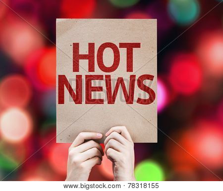 Hot News card with colorful background with defocused lights