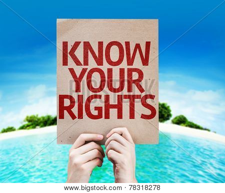 Know Your Rights card with a beach on background