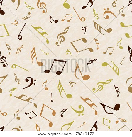 Musical notes seamless pattern wallpaper.