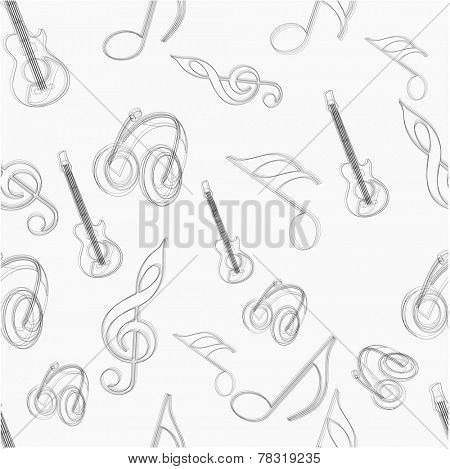 Seamless pattern of musical instrument and musical notes.