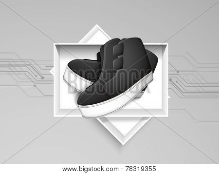 Men shoes with shoe box on grey color background.