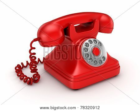 3d rendered retro telephone.