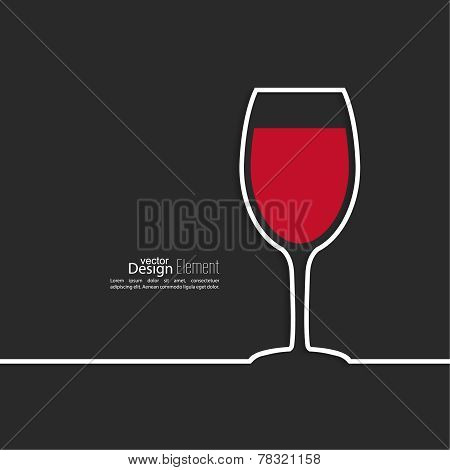 Ribbon in the form of wine glass with shadow and space for text