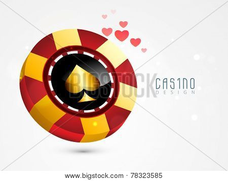 Colorful casino chip design with hearts on grey background.