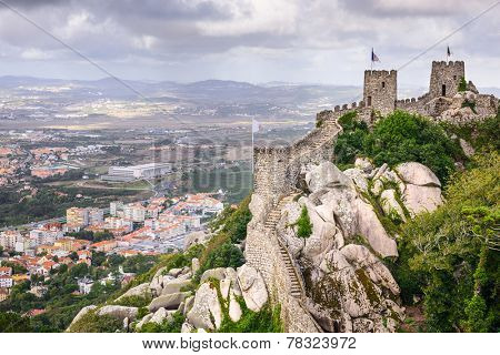 Sintra, Portugal at the Moorish Castle and Sintra townscpe.
