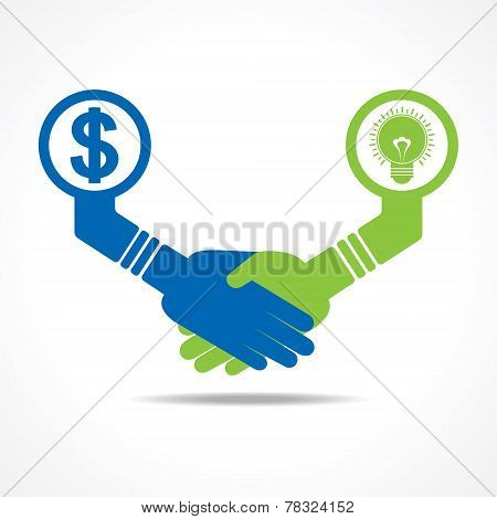 businessmen handshake between men having idea and money stock vector