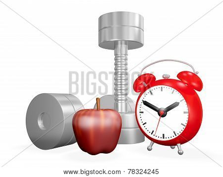 Dumbbell Apple And Alarm Clock
