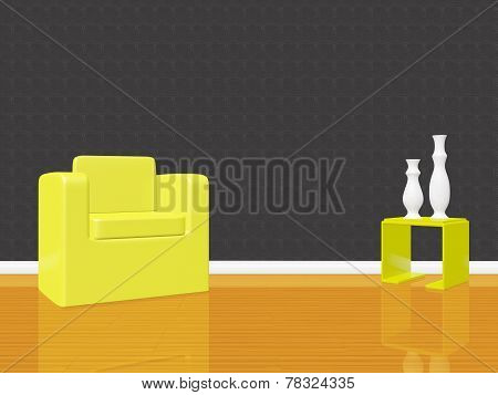 Single Arm Chair Sofa In Empty Room