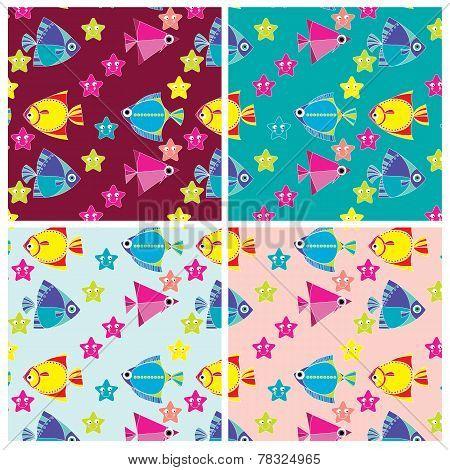 pattern of marine fish and sea stars