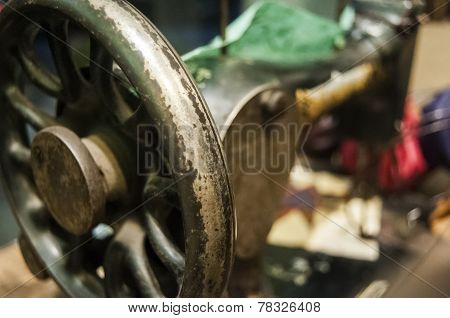 Flywheel of old sewing machine