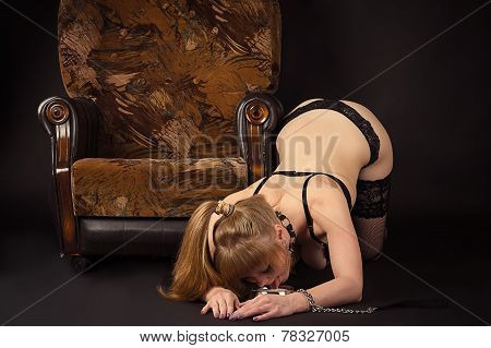 woman as slave drinking milk