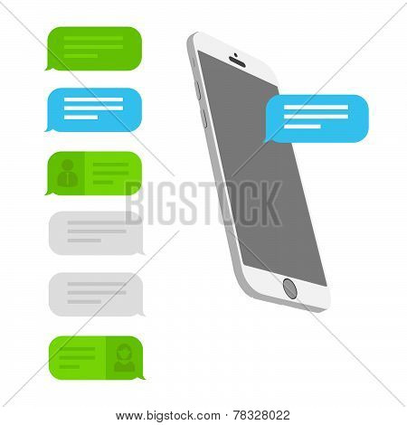 flat iphone 6 with text bubbles