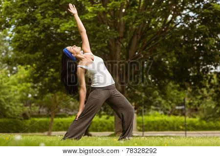 Peaceful brunette doing yoga in the park on a sunny day