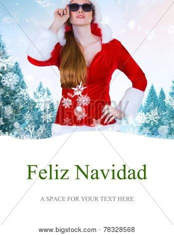 cool santa girl wearing sunglasses against feliz navidad