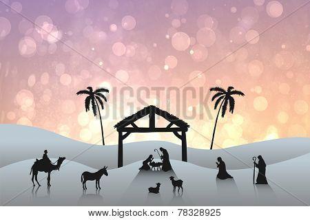 Nativity scene against pink abstract light spot design