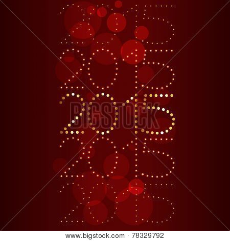 2015 design written in golden dots placed on red background