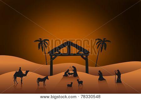 Nativity scene against orange background with vignette