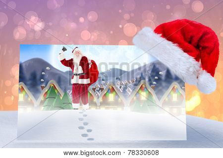 Santa delivery presents to village against pink abstract light spot design