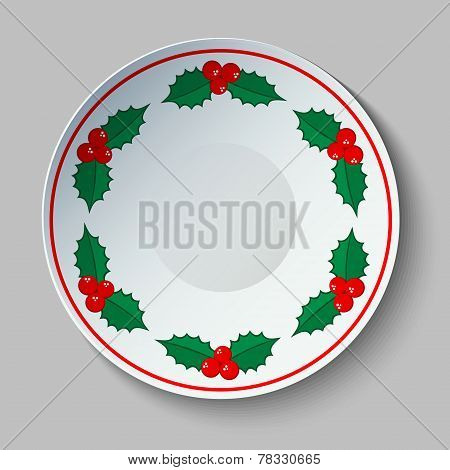 Ceramic Plate With Christmas Traditional Holly Ornament