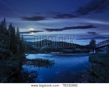 Forest And River Near The Village In Mounta At Night