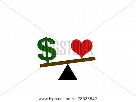 Heart And Dollar Sign On A Fulcrum Balance