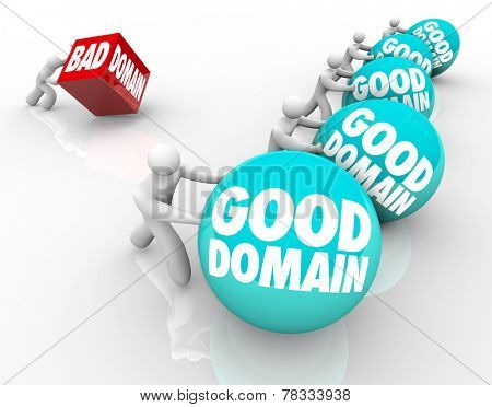 Good Domains vs Bad words on spheres in a race or competition with best internet website names that are memorable and high quality