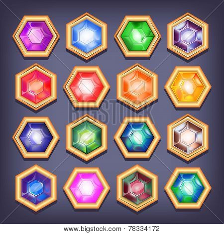 Vector set of colorful shiny jewels.