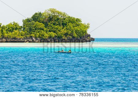 Island, Fisherman Boat And Blue Water