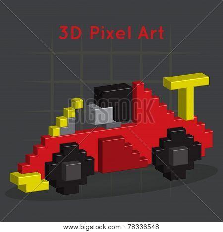 Race car. 3D Pixel Art