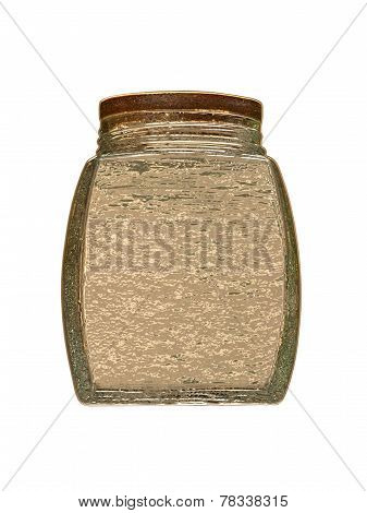 Golden Glass Jar Isolated On White Background.