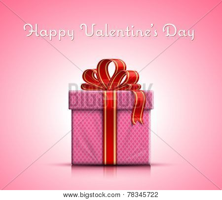 Happy Valentine's Day. Valentine gift box with ribbon on pink background. Vector illustration