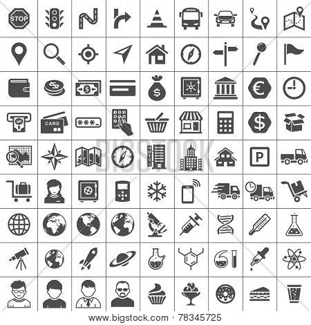 Universal Icon Set. 81 icons. Transport, business, financial, research and social icons. Simplus series