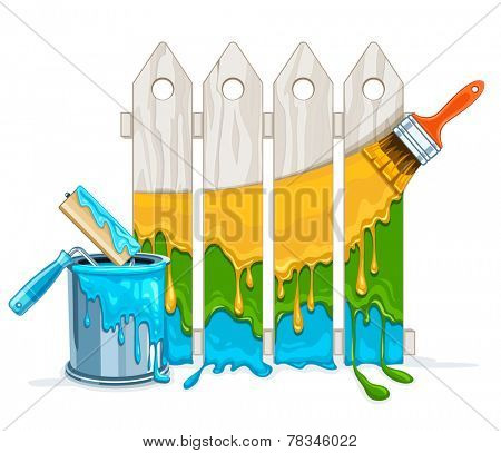 White fence painting maintenance by colour paint by brush roller with full bucket. Eps10 vector illustration. Isolated on white background