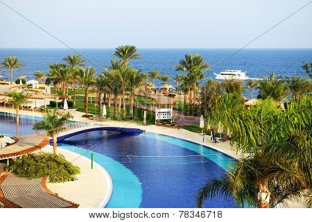 Sharm El Sheikh, Egypt -  December 3: The Tourists Are On Vacation At Popular Hotel On December 3, 2