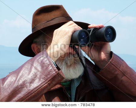 Looking binoculars