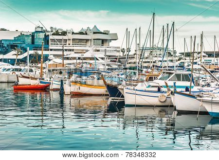 View on the city of Cannes and the old harbour. French Riviera, Cannes, France