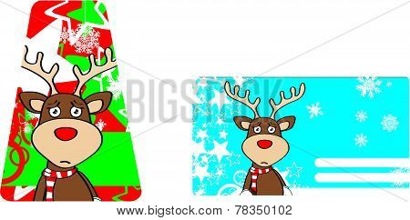 sad xmas reindeer cartoon giftcard