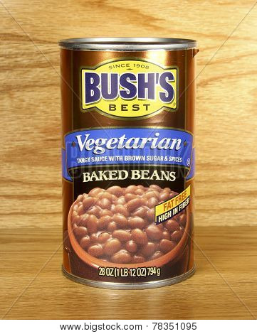 Can Of Bush's Vegetarian Baked Beans