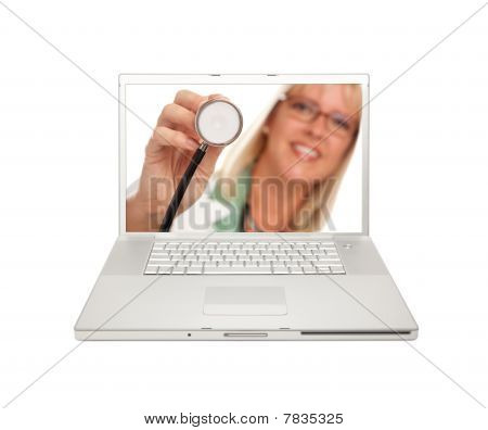 Female Doctor With Stetchoscope On Laptop Screen