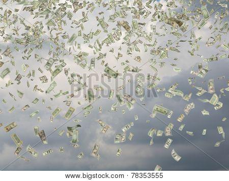Many Dollar Bills Falling