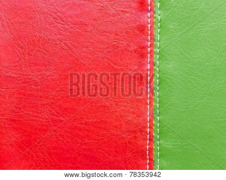 Green And Red Leather With White Stitch