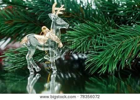 Christmas decoration deer with fir