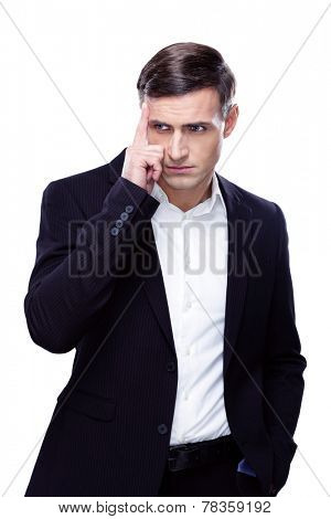 Portrait of a thoughful businessman isolated on a white background
