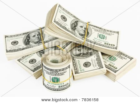 Many  Bundle And Roll Of Us 100 Dollars Bank Notes