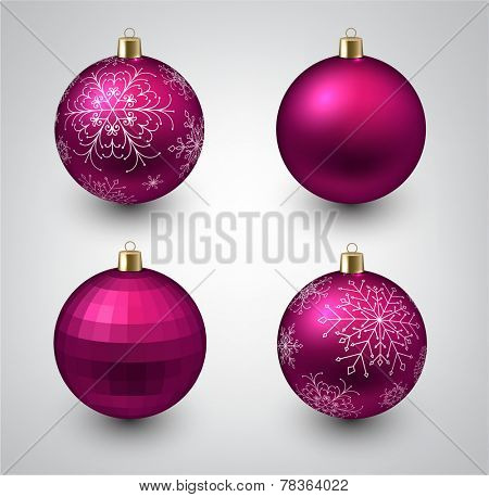 Vector illustration of shiny magenta christmas balls. Winter decoration.