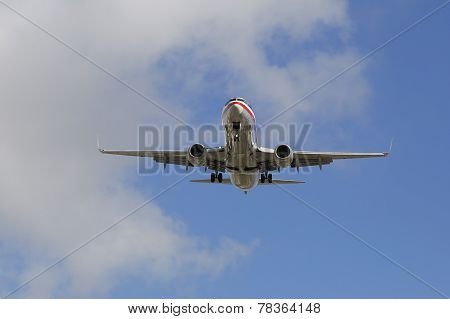 American Airlines jet descending for landing San Diego International Airport