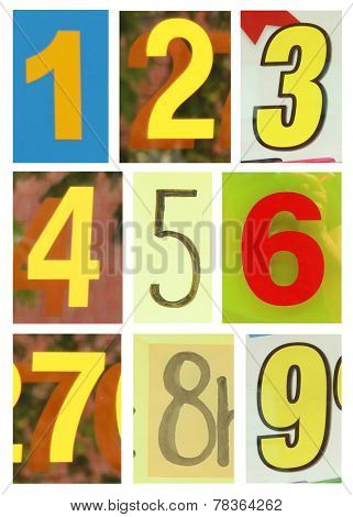 Collection of different yellow colors and texture number one to nine.