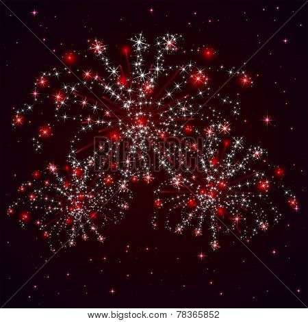 Red Firework And Stars